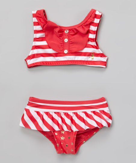 Coral & White Stripe Star Bikini - Infant, Toddler & Girls