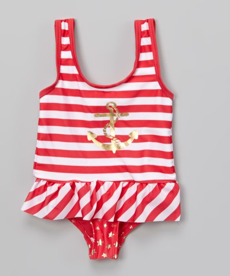 Coral Stripe Anchor Skirted One-Piece - Infant, Toddler & Girls