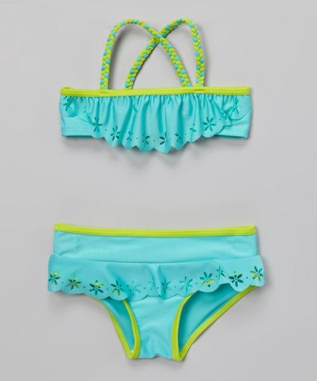 Turquoise Flower Ruffle Bikini - Infant, Toddler & Girls