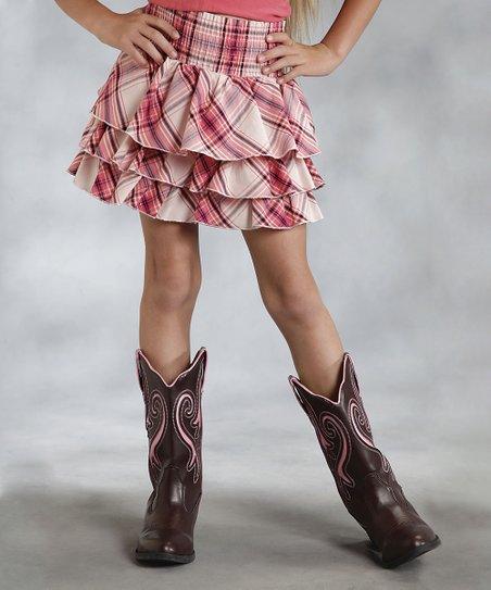 Pink Plaid Tiered Ruffle Skirt - Girls