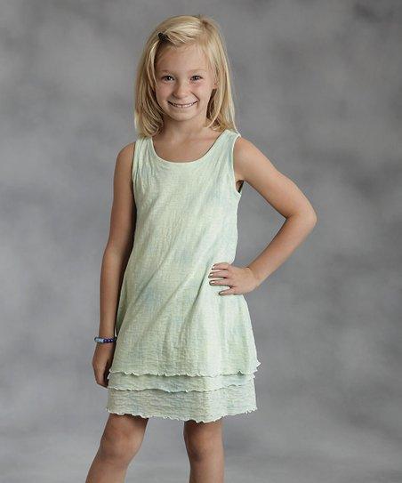 Green Tissue Jersey Dress - Girls