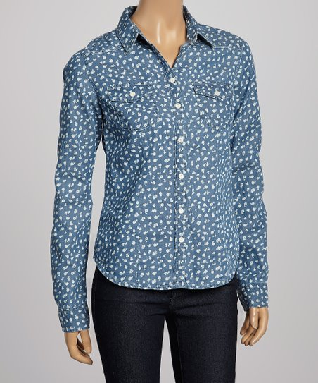 Dark Blue Floral Denim Button-Up Top