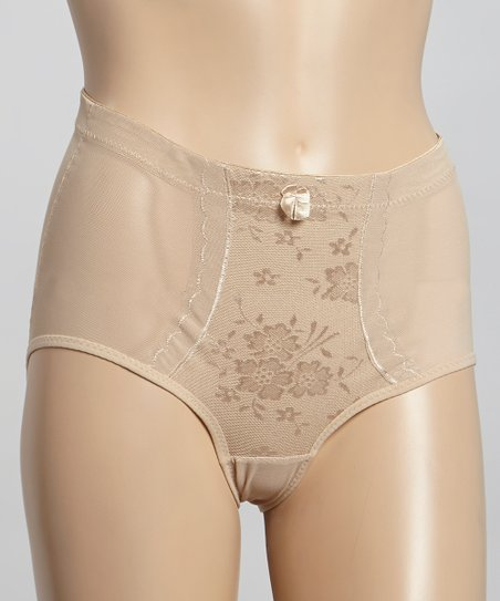Beige Mesh Firm Control Shaping Brief - Women & Plus