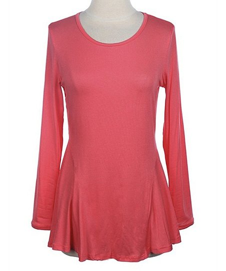 Pink Peplum Long-Sleeve Tee