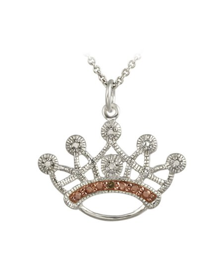 Champagne Diamond & Silver Crown Pendant Necklace