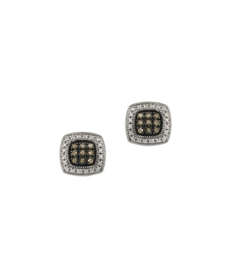 Champagne Diamond & Sterling Silver Square Stud Earrings