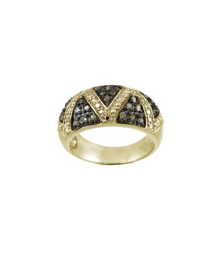 Champagne Diamond & Yellow Gold Zigzag Ring