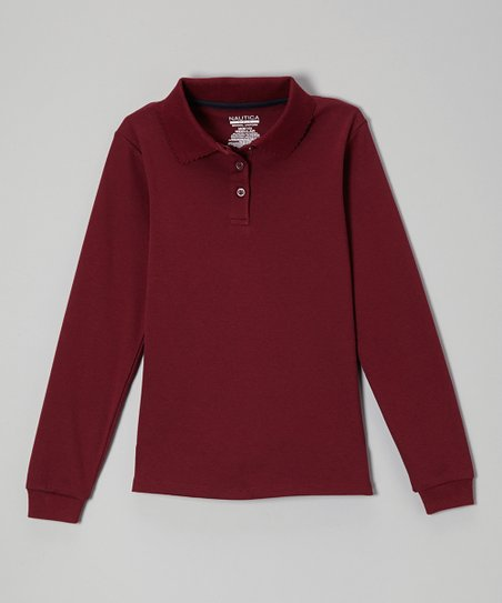 Burgundy Long-Sleeve Polo - Girls