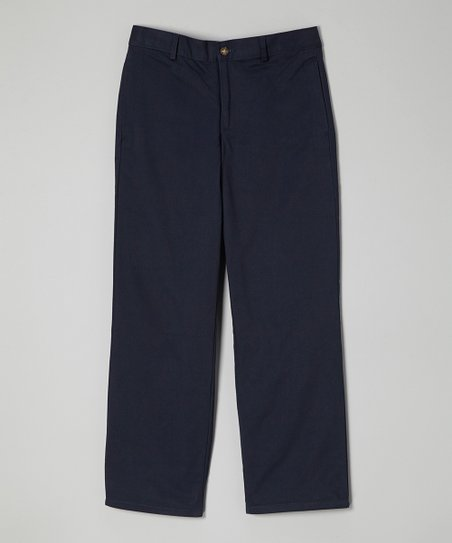 Navy Twill Flat-Front Pants - Boys