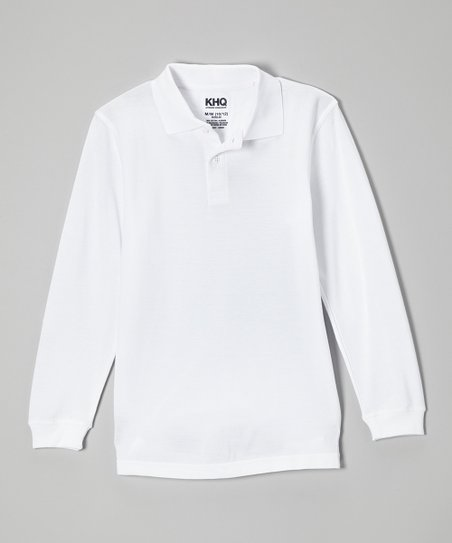 White Long-Sleeve Polo - Boys