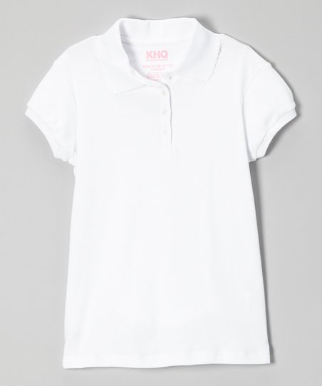 White Picot Cap-Sleeve Polo - Girls