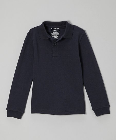 Navy Picot Long-Sleeve Polo - Girls