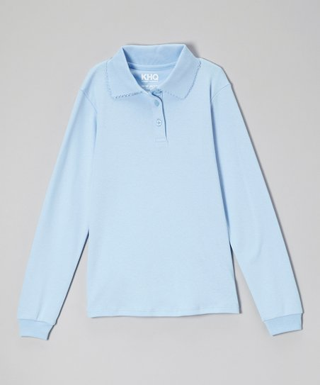 Light Blue Picot Long-Sleeve Polo - Girls