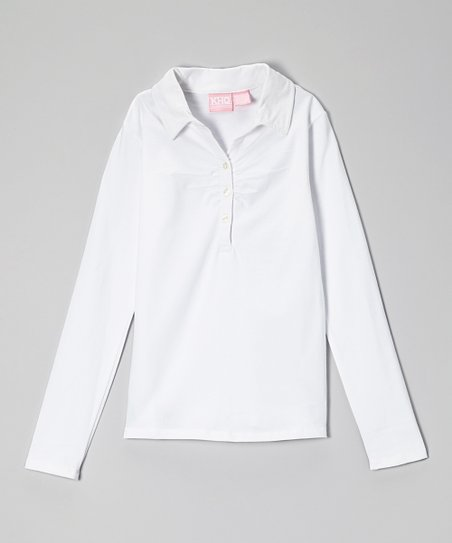 White Shirred Polo - Girls