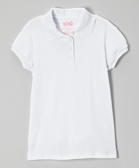 White Picot Cap-Sleeve Polo - Girls' Plus