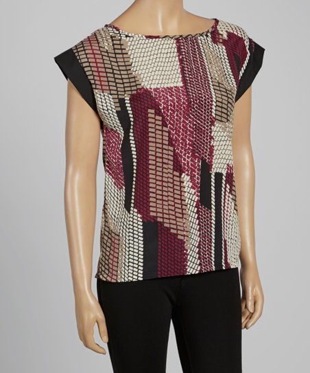 Magenta Digital Cap-Sleeve Top