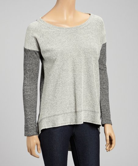 Heather Charcoal Scoop Neck Top