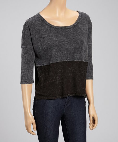 Black Color Block Scoop Neck Top
