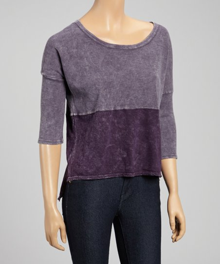 Purple Color Block Scoop Neck Top