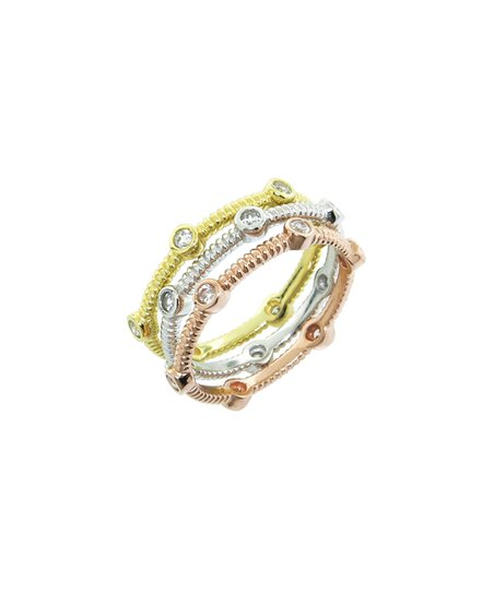 Sparkle & Gold Stackable Jeweled Ring Set