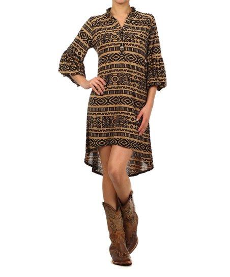 Mocha & Black Tribal Ruffle-Sleeve Hi-Low Dress - Women