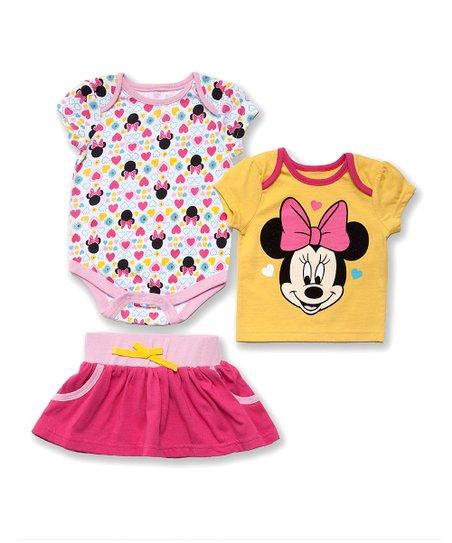 Fuchsia Heart Minnie Bodysuit Set - Infant