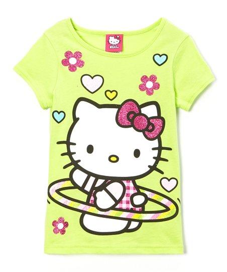 Green Hula-Hoop Hello Kitty Tee - Girls