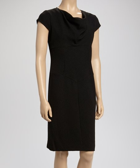 Black Drape Cap-Sleeve Dress