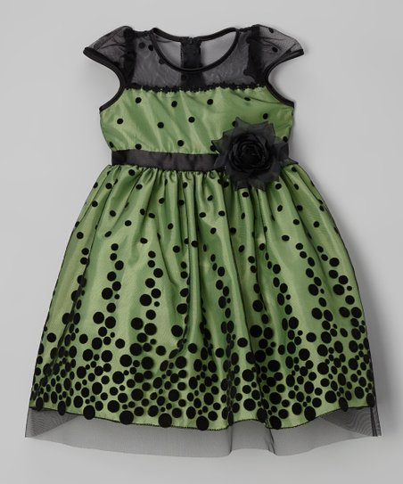 Lime & Black Polka Dot Dress - Toddler & Girls