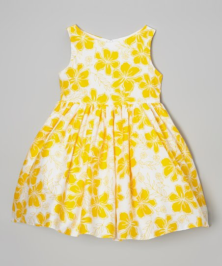 Yellow Floral A-Line Dress - Girls