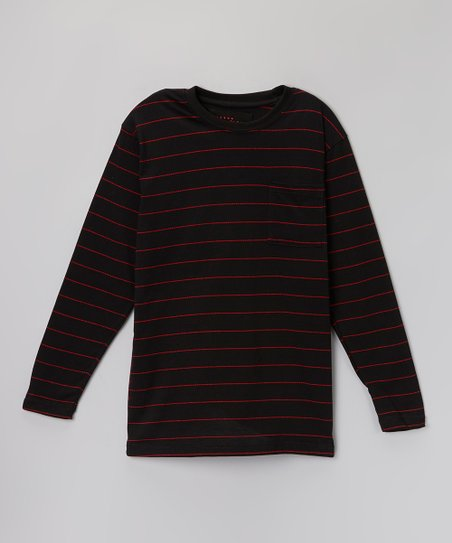 Black & Red Stripe Pocket Tee - Boys