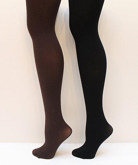 Brown & Black Matte Opaque Tights Set