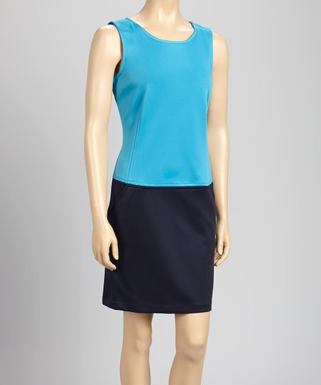 Aqua & Navy Color-Block Tank Dress