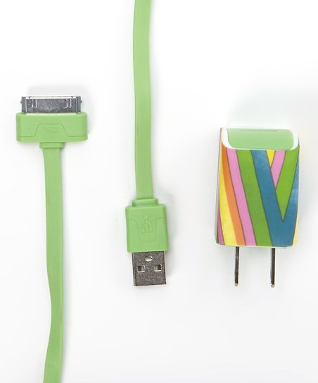 Green Stripe Charger Cable Set for iPhone 4/4s