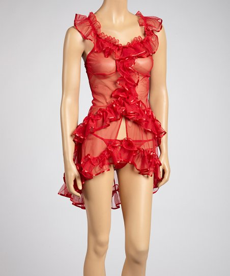 Red Sheer Ruffle Chemise & G-String - Women