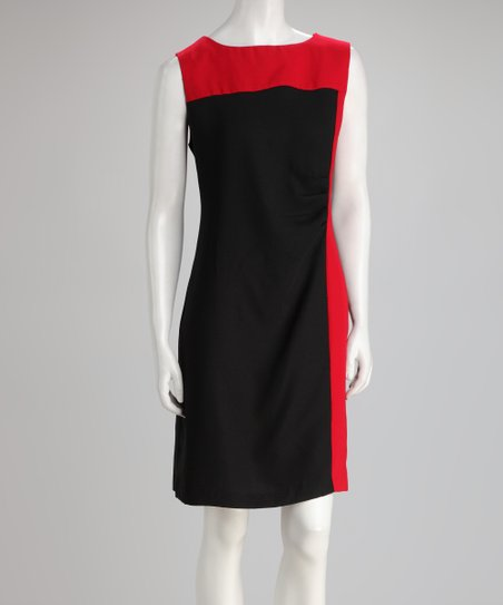 Black & Red Color Block Dress