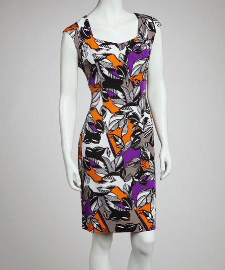 Violet & Tangerine Garden Cap-Sleeve Dress