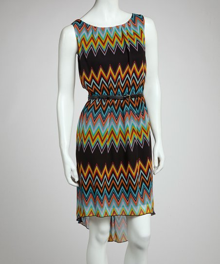 Red & Blue Zigzag Sleeveless Dress