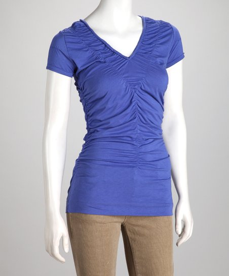 Periwinkle Ruched Cap-Sleeve Top