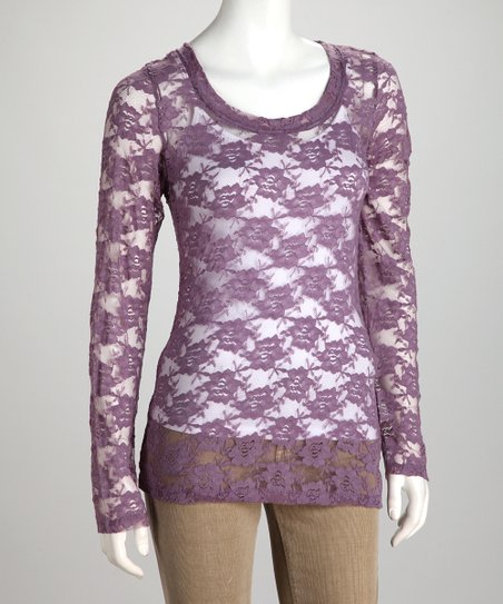 Plum Sheer Lace Long-Sleeve Tee