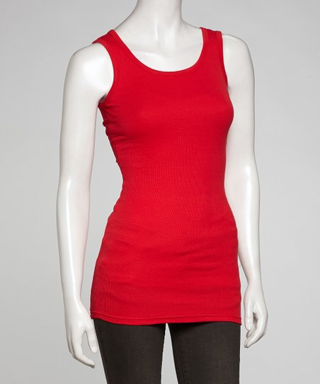 Poppy Ribbed Long Tank