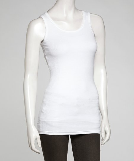 White Ribbed Long Layering Tank