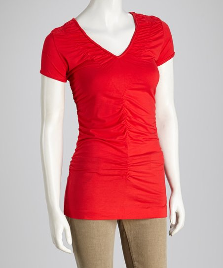 Poppy Ruched Short-Sleeve Top