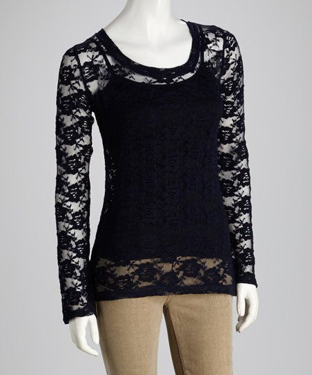 French Navy Sheer Lace Long-Sleeve Top