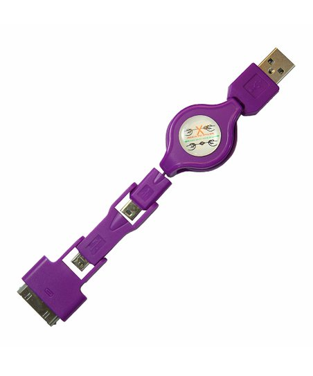 Purple Stacks Three-Port Retractable Cable