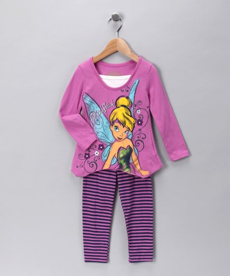 Purple Stripe Tinker Bell Tunic & Leggings - Toddler & Girls