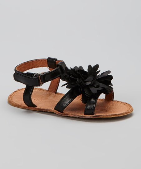 Black Patent Flower Sandal