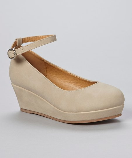 Beige Soap Ankle-Strap Wedge