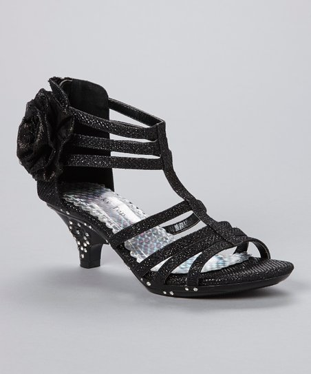 Black Flower Time Embellished Sandal