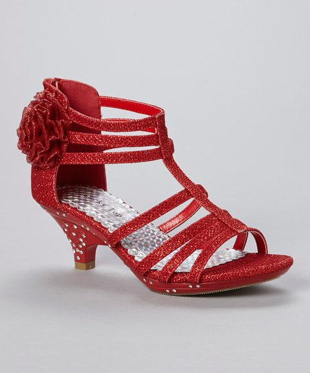 Red Flower Time Embellished Sandal
